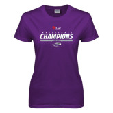 Ladies Purple T Shirt-WIAC Volleyball Champions 2016