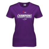 Ladies Purple T Shirt-WIAC Volleyball Champions 2016