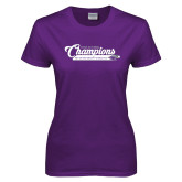 Ladies Purple T Shirt-2017 NCGA National Champions Gymnastics