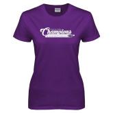 Ladies Purple T Shirt-2017 NCGA National Champions Gymnastics
