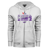 ENZA Ladies White Fleece Full Zip Hoodie-2017 WIAC Conference Champs Wrestling