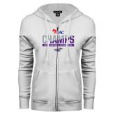 ENZA Ladies White Fleece Full Zip Hoodie-WIAC Baseball Champions