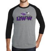 Grey/Black Tri Blend Baseball Raglan-UW-W w/Warhawk Head