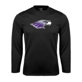 Performance Black Longsleeve Shirt-Warhawk Head