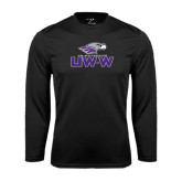 Performance Black Longsleeve Shirt-UW-W w/Warhawk Head