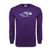 Purple Long Sleeve T Shirt-Warhawk Head