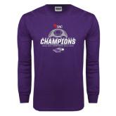 Purple Long Sleeve T Shirt-WIAC Womens Soccer Champions - Six in Seven Years