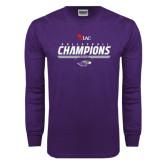 Purple Long Sleeve T Shirt-WIAC Volleyball Champions 2016