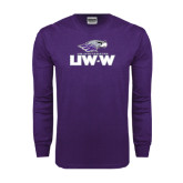 Purple Long Sleeve T Shirt-UW-W w/Warhawk Head