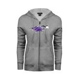 ENZA Ladies Grey Fleece Full Zip Hoodie-Warhawk Head