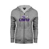 ENZA Ladies Grey Fleece Full Zip Hoodie-UW-W w/Warhawk Head