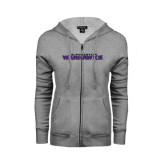 ENZA Ladies Grey Fleece Full Zip Hoodie-Warhawks
