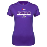 Ladies Syntrel Performance Purple Tee-2017 WIAC Champions Wrestling