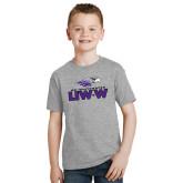 Youth Grey T-Shirt-UW-W w/Warhawk Head