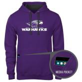 Contemporary Sofspun Purple Hoodie-Warhawks w/Warhawk Head