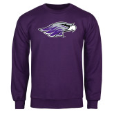 Purple Fleece Crew-Warhawk Head