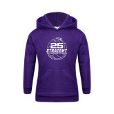Youth Purple Fleece Hoodie-25th Straight NCAA Tournament Appearance - Womens Volleyball 2016