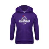Youth Purple Fleece Hoodie-WIAC Womens Soccer Champions - Six in Seven Years
