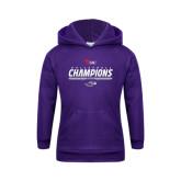 Youth Purple Fleece Hoodie-WIAC Volleyball Champions 2016