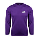 Performance Purple Longsleeve Shirt-Warhawks w/Warhawk Head