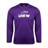 Performance Purple Longsleeve Shirt-UW-W w/Warhawk Head
