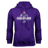 Purple Fleece Hoodie-WIAC Womens Soccer Champions - Six in Seven Years