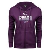 ENZA Ladies Purple Fleece Full Zip Hoodie-WIAC Baseball Champions