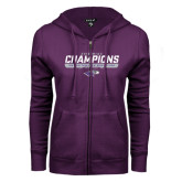 ENZA Ladies Purple Fleece Full Zip Hoodie-2016 WIAC Champions Wrestling