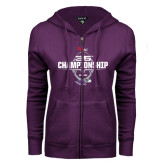 ENZA Ladies Purple Fleece Full Zip Hoodie-35th WIAC Championship - Football 2016