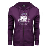 ENZA Ladies Purple Fleece Full Zip Hoodie-25th Straight NCAA Tournament Appearance - Womens Volleyball 2016
