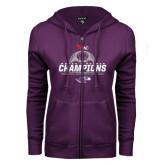 ENZA Ladies Purple Fleece Full Zip Hoodie-WIAC Womens Soccer Champions - Six in Seven Years