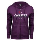 ENZA Ladies Purple Fleece Full Zip Hoodie-WIAC Volleyball Champions 2016