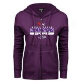 ENZA Ladies Purple Fleece Full Zip Hoodie-2017 WIAC Champions Wrestling