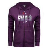 ENZA Ladies Purple Fleece Full Zip Hoodie-2017 WIAC Conference Champs Wrestling