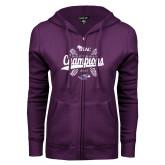 ENZA Ladies Purple Fleece Full Zip Hoodie-WIAC Softball Champions