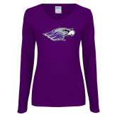 Ladies Purple Long Sleeve V Neck T Shirt-Warhawk Head