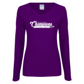 Ladies Purple Long Sleeve V Neck T Shirt-2017 NCGA National Champions Gymnastics