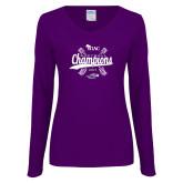 Ladies Purple Long Sleeve V Neck Tee-WIAC Softball Champions