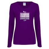 Ladies Purple Long Sleeve V Neck T Shirt-WIAC Softball Champions