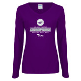 Ladies Purple Long Sleeve V Neck T Shirt-WIAC 2017 Womens Golf Champions