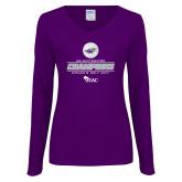 Ladies Purple Long Sleeve V Neck T Shirt-WIAC 2017 Womens Golf Champions