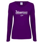 Ladies Purple Long Sleeve V Neck T Shirt-WIAC 2017 Womens Tennis Champions