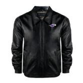 Black Leather Bomber Jacket-Warhawk Head