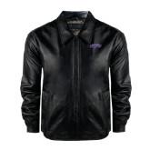 Black Leather Bomber Jacket-UW-W