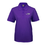 Ladies Easycare Purple Pique Polo-Warhawk Head