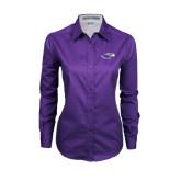 Ladies Purple Twill Button Down Long Sleeve-Warhawk Head
