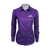 Ladies Purple Twill Button Down Long Sleeve-Warhawks w/Warhawk Head