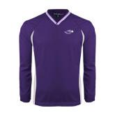 Colorblock V Neck Purple/White Raglan Windshirt-Warhawk Head