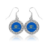 Crystal Studded Round Pendant Silver Dangle Earrings-Widener Pride
