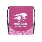Nylon Zebra Pink/White Patterned Drawstring Backpack-Widener Athletics